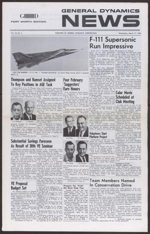 Primary view of object titled 'General Dynamics News, Volume 18, Number 6, Wednesday, March 17, 1965'.
