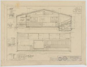 Primary view of object titled 'School Auditorium/Gymnasium, Loraine, Texas: Sections'.