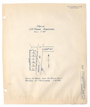 Primary view of object titled 'Map of J. A. Thomas Subdivision'.