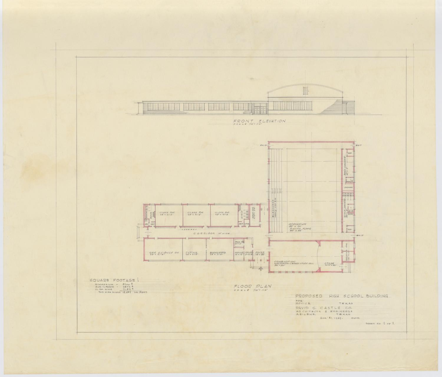 Proposed high school building novice texas floor plan and elevation the portal to texas history