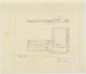 Primary view of object titled 'Proposed High School Building Novice, Texas: Floor Plan and Elevation'.