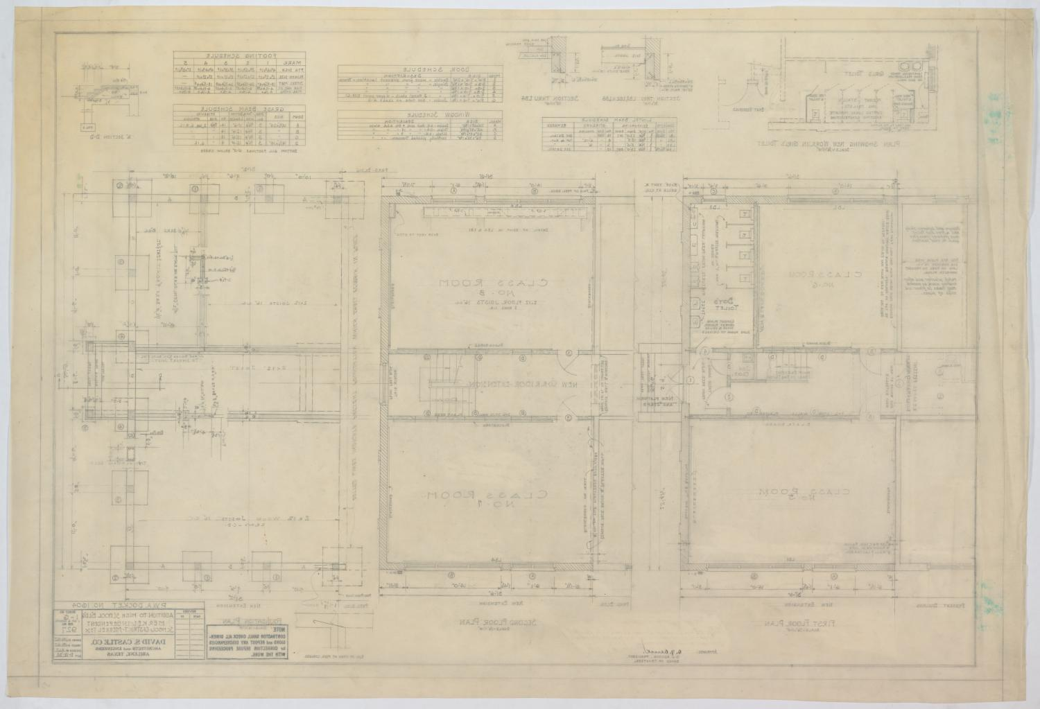 High School Building Addition, Merkel, Texas: Floor Plans and Schedules                                                                                                      [Sequence #]: 2 of 2