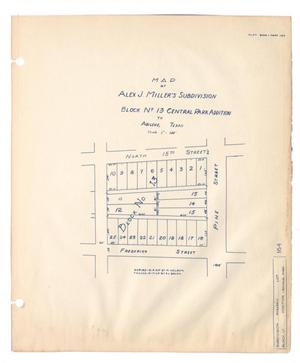 Map of Alex J. Miller's Subdivision, Block Number 13, Central Park Addition to Abilene, Texas