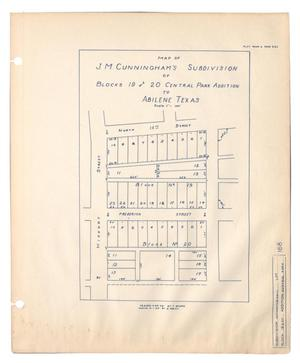 Primary view of object titled 'Map of J. M. Cunningham's Subdivision of Blocks 19 and 20, Central Park Addition to Abilene, Texas'.