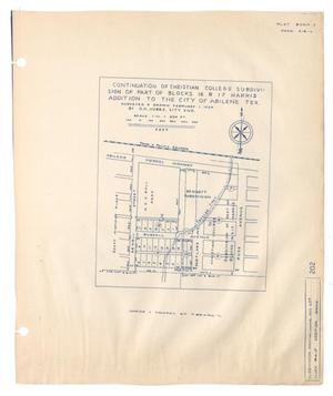 Primary view of object titled 'Continuation of Christian College Subdivision of Part of Blocks 16 & 17 of the Harris Addition to the City of Abilene, Texas'.