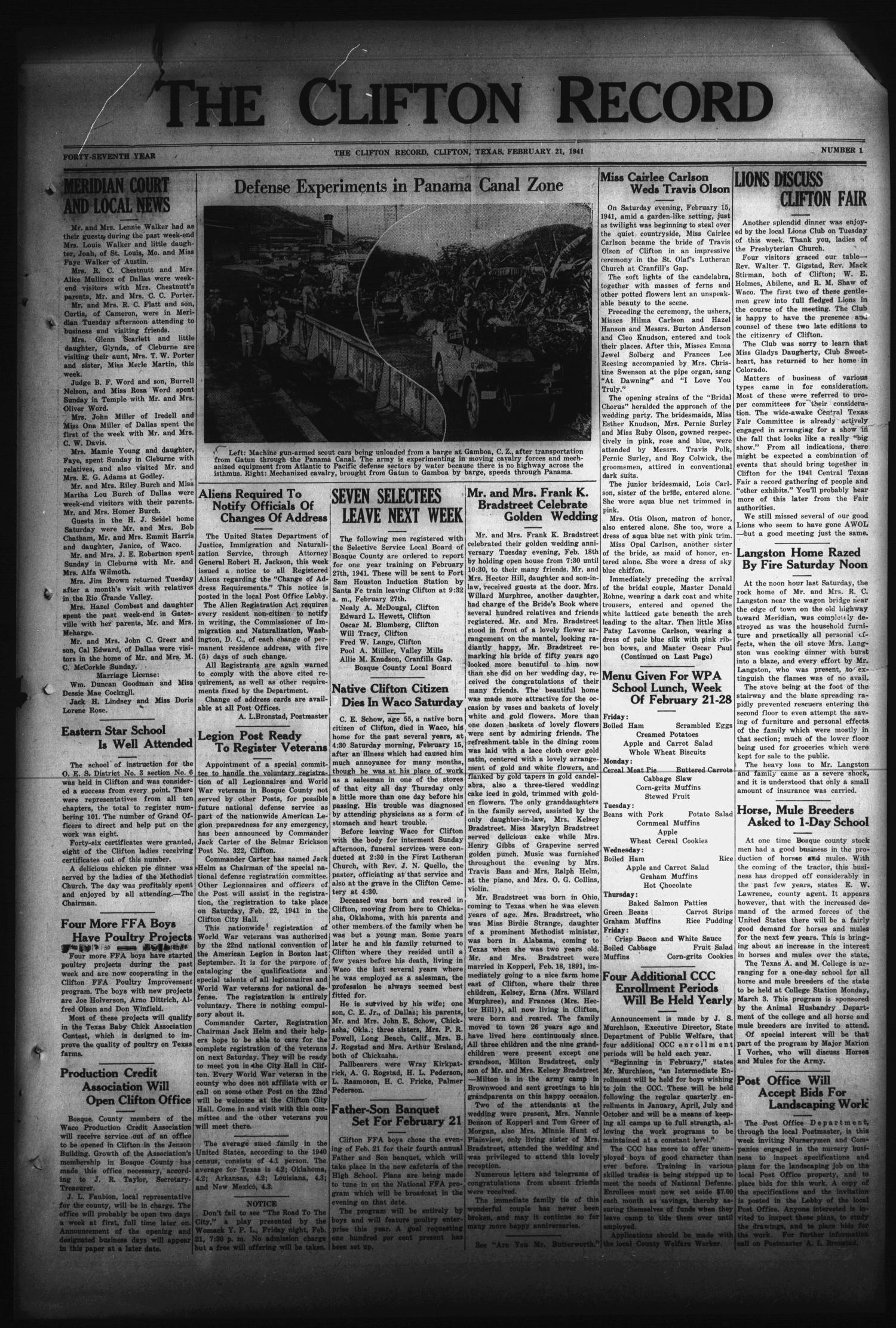 The Clifton Record (Clifton, Tex.), Vol. 47, No. 1, Ed. 1 Friday, February 21, 1941                                                                                                      [Sequence #]: 1 of 8