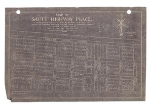 Primary view of object titled 'Map of Scott Highway Place.: A Subdivision of Lots 4 & 5, Block 17, & all of Block 18, Harris Addition to the Town of Abilene, Texas. [#2]'.