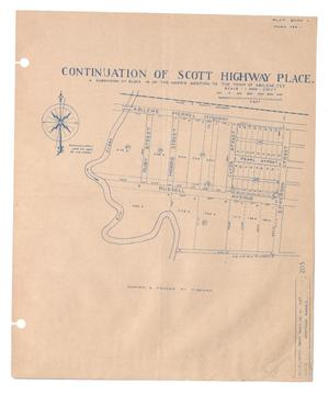 Primary view of object titled 'Continuation of Scott Highway Place, a Subdivision of Block 19 of the Harris Addition to the Town of Abilene, Texas {#3]'.