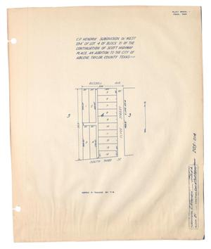 Primary view of object titled 'C. P. Hendrix Subdivision of West 254' of Lot 4 of Block 21 of the Continuation of Scott Highway Place, and Addition to the City of Abilene, Taylor County, Texas'.