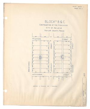 Primary view of object titled 'Blocks B & C Continuation of the Highlands City of Abilene, Taylor County, Texas'.