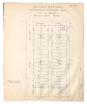 Primary view of object titled 'Blocks D, E, F, G, H and J Continuation of the Highlands Add'n City of Abilene, Taylor County, Texas'.