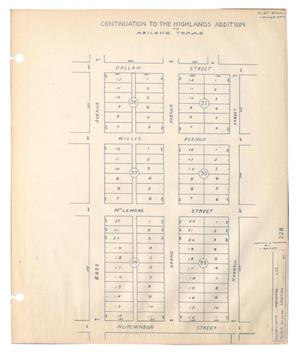 Primary view of object titled 'Continuation to the Highlands Addition to Abilene, Texas'.