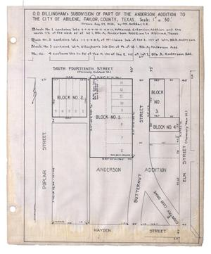 Primary view of object titled 'Map of O. D. Dillingham's Subdivision of Part of the Anderson Addition to the City of Abilene, Taylor County, Texas.'.