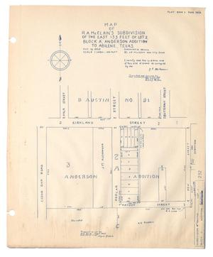 Primary view of object titled 'Map of R. A. McClain's Subdivision of the East 133 Feet of Lot 2, Block A, Anderson Addition to Abilene, Texas.'.