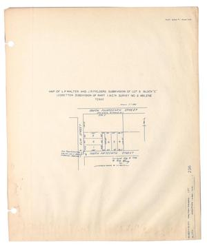 "Primary view of object titled 'Map of L. P. Walter and J. R. Fielders Subdivision of Lot 3, Block ""C"", Ledbetter Subdivision of Part I. & G. N. Survey Number 2, Abilene, Texas'."