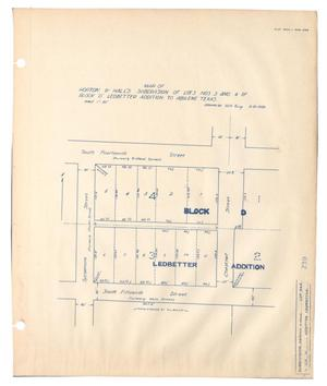 "Primary view of object titled 'Map of Horton & Hall's Subdivision of Lots Numbers 3 and 4 of Block ""D"", Ledbetter Addition to Abilene, Texas'."