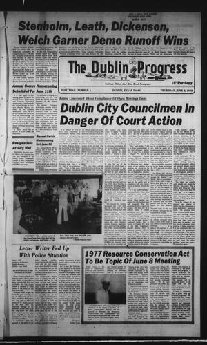 Primary view of object titled 'The Dublin Progress (Dublin, Tex.), Vol. 91, No. 1, Ed. 1 Thursday, June 8, 1978'.