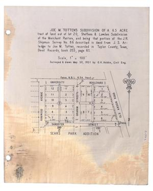 Primary view of object titled '[Plat of Joe M. Totten's Subdivision and the Steffens & Lowden Subdivision #2]'.