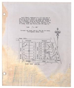 Primary view of object titled '[Plat of Joe M. Totten's Subdivision and the Steffens & Lowden Subdivision #4]'.