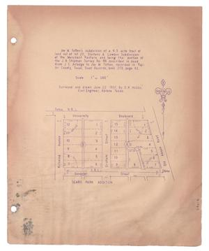Primary view of object titled '[Plat of Joe M. Totten's Subdivision and the Steffens & Lowden Subdivision #5]'.