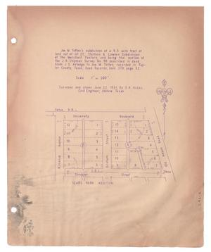 Primary view of object titled '[Plat of Joe M. Totten's Subdivision and the Steffens & Lowden Subdivision #6]'.