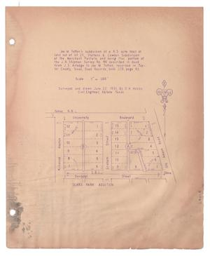 Primary view of object titled '[Plat of Joe M. Totten's Subdivision and the Steffens & Lowden Subdivision #7]'.