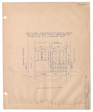 Primary view of object titled 'Map of Howell Subdivision of Lots Seven (7), Nine (9), and Ten (10) of Block Five (5), North Park Addition to the City of Abilene, Texas. [#1]'.