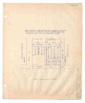 Primary view of object titled 'Map of Howell Subdivision of Lots Seven (7), Nine (9), and Ten (10) of Block Five (5), North Park Addition to the City of Abilene, Texas. [#2]'.