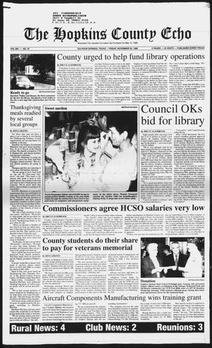 Primary view of object titled 'The Hopkins County Echo (Sulphur Springs, Tex.), Vol. 203, No. 47, Ed. 1 Friday, November 20, 1998'.