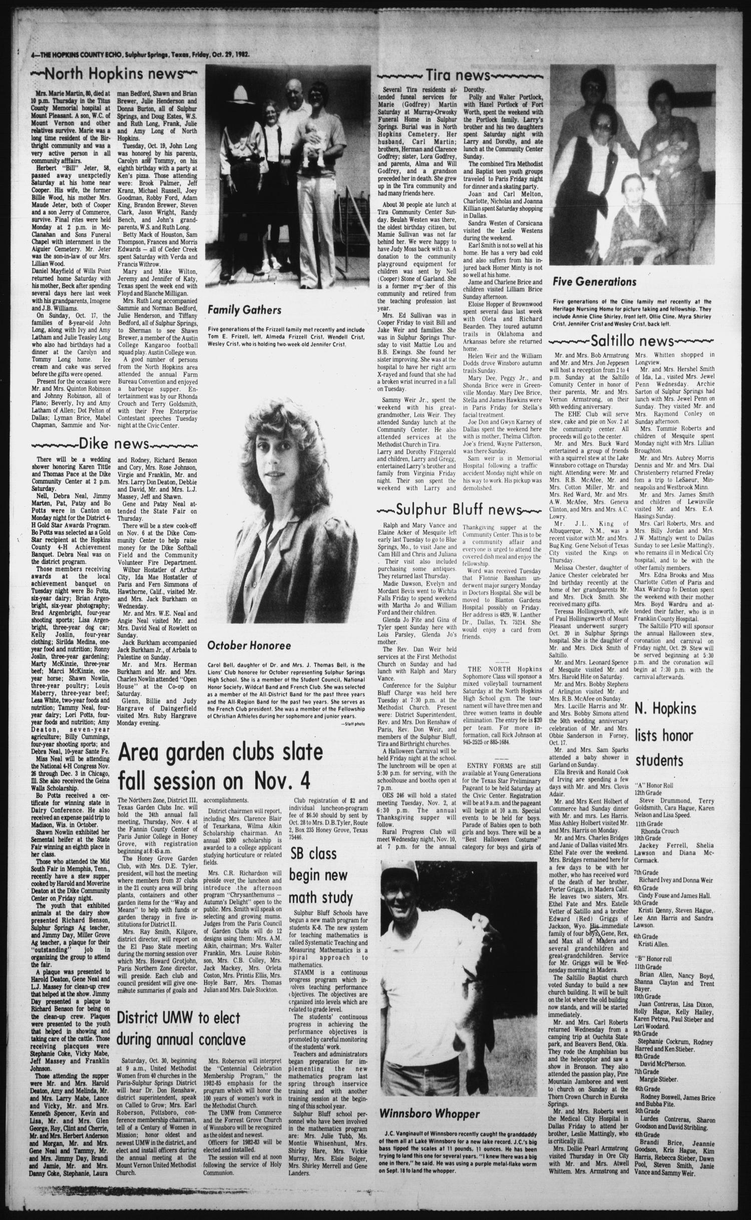 The Hopkins County Echo (Sulphur Springs, Tex.), Vol. 107, No. 44, Ed. 1 Friday, October 29, 1982                                                                                                      [Sequence #]: 4 of 4