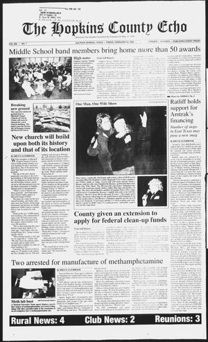 Primary view of The Hopkins County Echo (Sulphur Springs, Tex.), Vol. 206, No. 7, Ed. 1 Friday, February 23, 2001