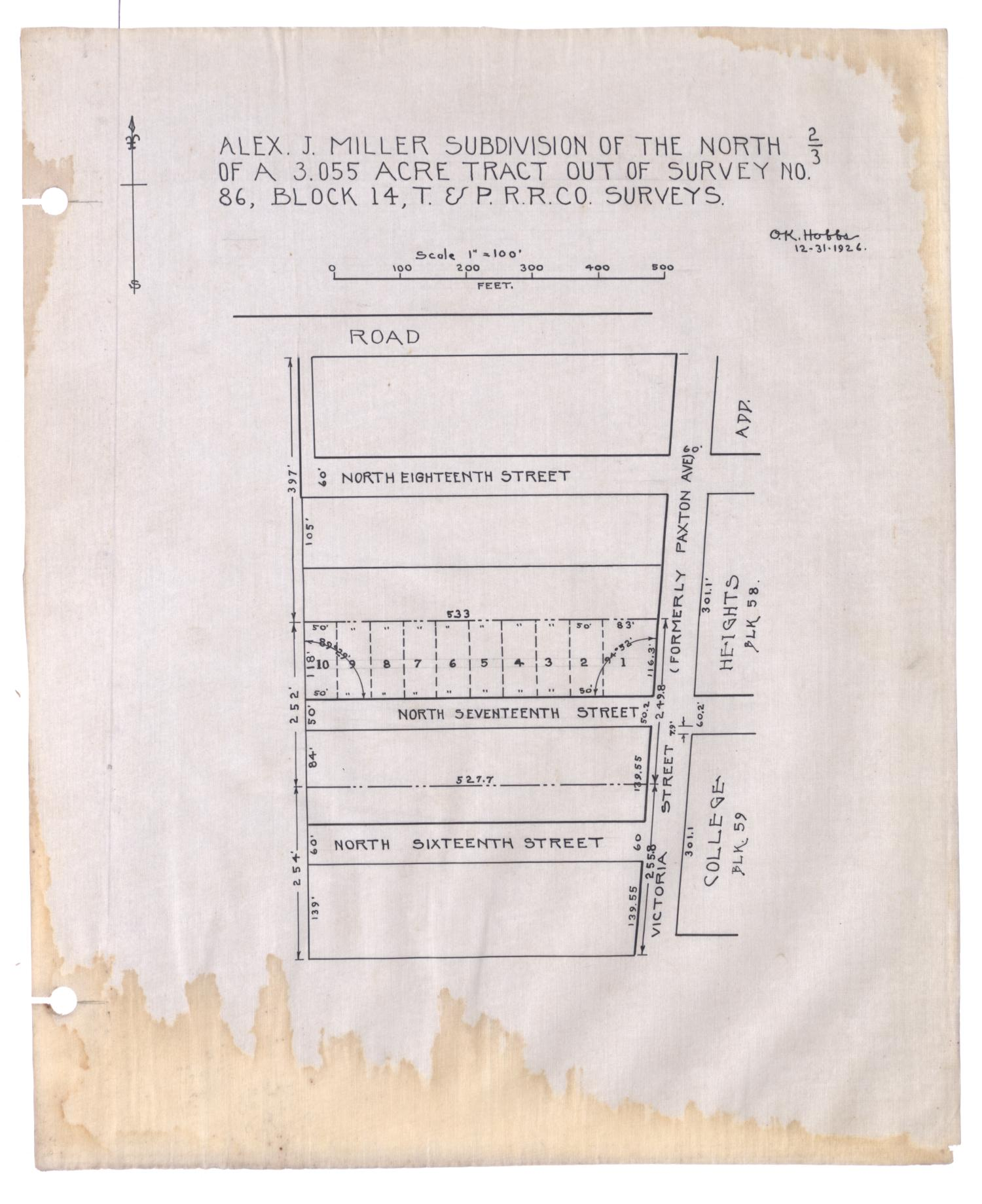 Alex J. Miller Subdivision of the North Two-Thirds of a 3.055 Acre Tract out of Survey Number 86, Block 14, Texas & Pacific Railroad Company Surveys [#2]                                                                                                      [Sequence #]: 1 of 2