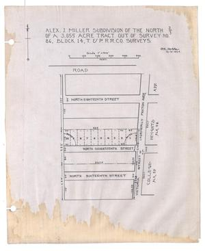 Primary view of object titled 'Alex J. Miller Subdivision of the North Two-Thirds of a 3.055 Acre Tract out of Survey Number 86, Block 14, Texas & Pacific Railroad Company Surveys [#2]'.