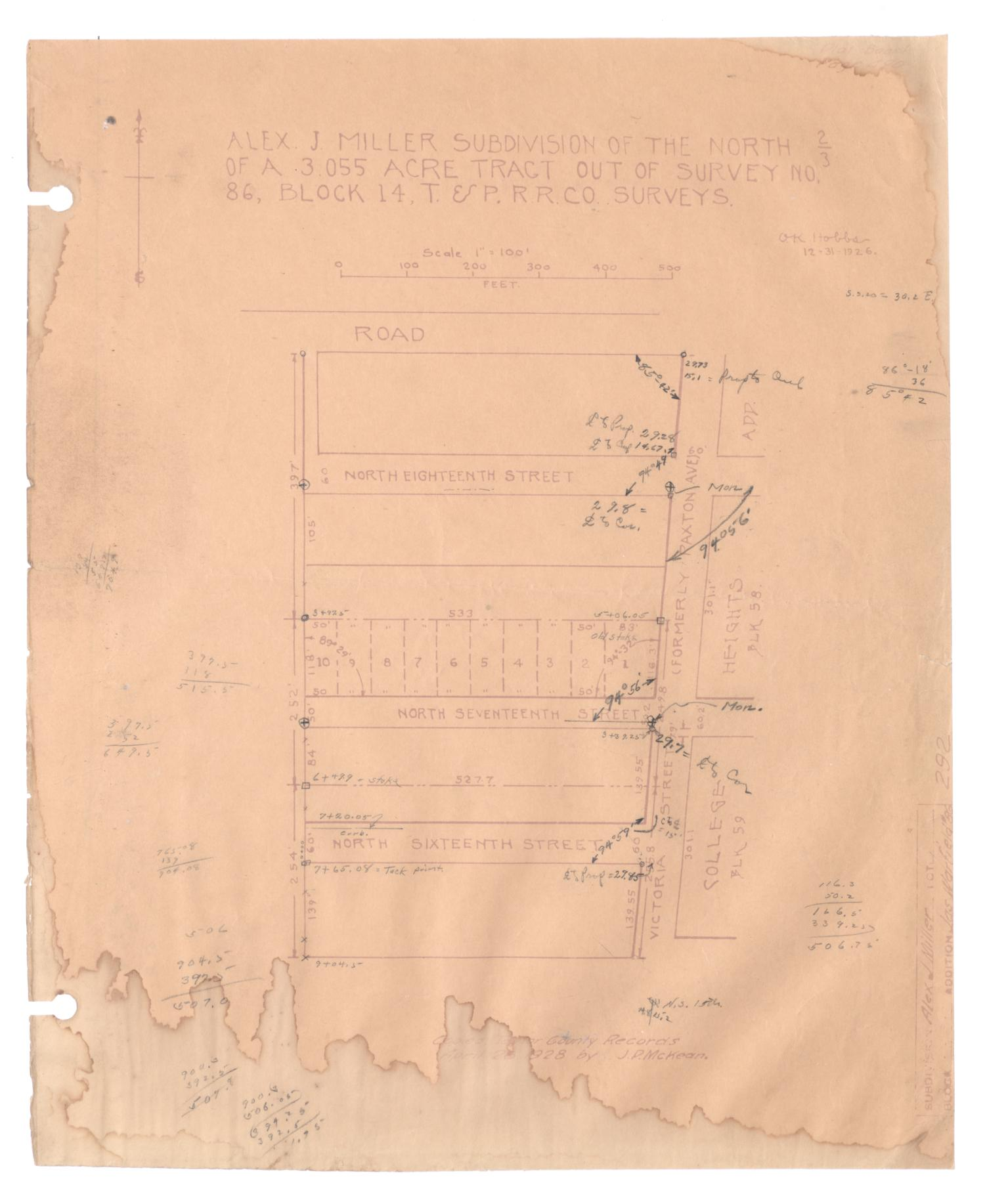 Alex J. Miller Subdivision of the North Two-Thirds of a 3.055 Acre Tract out of Survey Number 86, Block 14, Texas & Pacific Railroad Company Surveys [#3]                                                                                                      [Sequence #]: 1 of 2