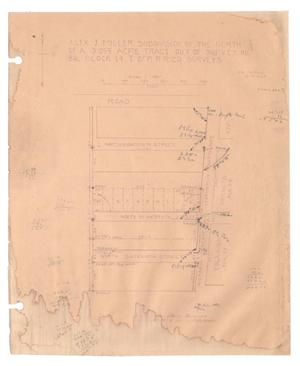 Primary view of object titled 'Alex J. Miller Subdivision of the North Two-Thirds of a 3.055 Acre Tract out of Survey Number 86, Block 14, Texas & Pacific Railroad Company Surveys [#3]'.
