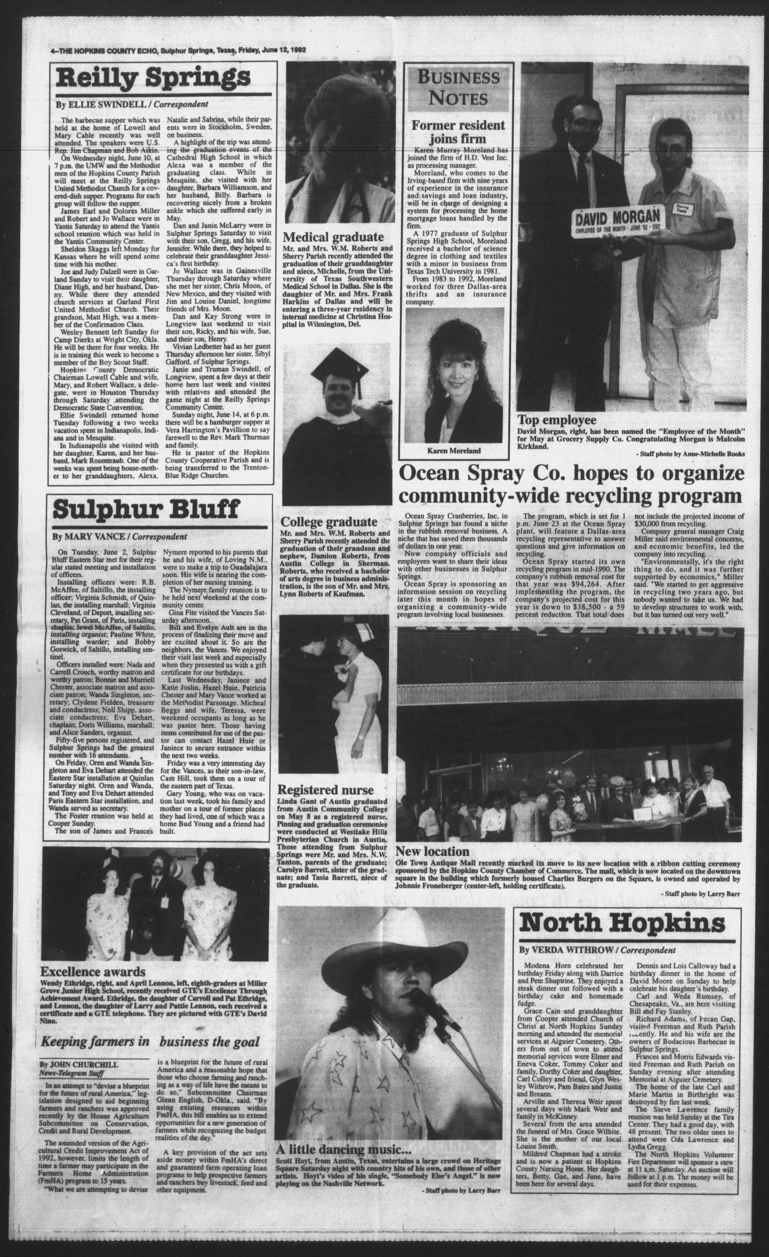 The hopkins county echo sulphur springs tex vol 117 no 24 the hopkins county echo sulphur springs tex vol 117 no 24 ed 1 friday june 12 1992 page 4 of 4 the portal to texas history malvernweather Gallery