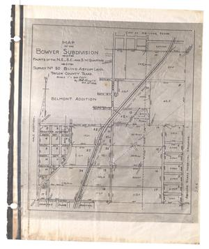 Map of the Bowyer Subdivision of Parts of the Northeast, Southeast and Southwest Quarters or Survey Number 50, Blind Asylum Land. Taylor County Texas. [#1]