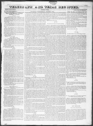 Primary view of Telegraph and Texas Register (Houston, Tex.), Vol. 9, No. 12, Ed. 1, Wednesday, March 6, 1844