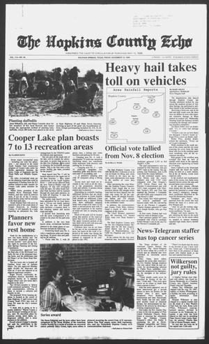 Primary view of object titled 'The Hopkins County Echo (Sulphur Springs, Tex.), Vol. 113, No. 46, Ed. 1 Friday, November 18, 1988'.