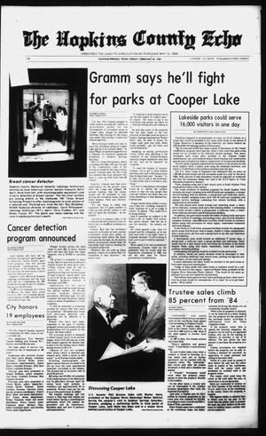 Primary view of object titled 'The Hopkins County Echo (Sulphur Springs, Tex.), Vol. 112, No. 8, Ed. 1 Friday, February 20, 1987'.