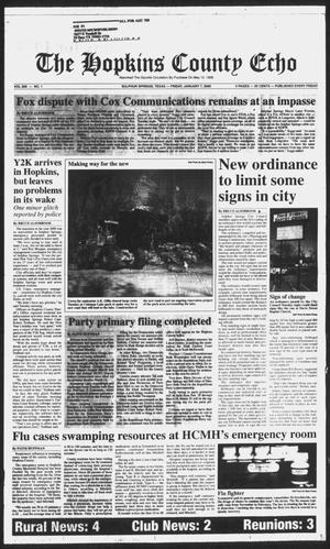 Primary view of object titled 'The Hopkins County Echo (Sulphur Springs, Tex.), Vol. 205, No. 1, Ed. 1 Friday, January 7, 2000'.