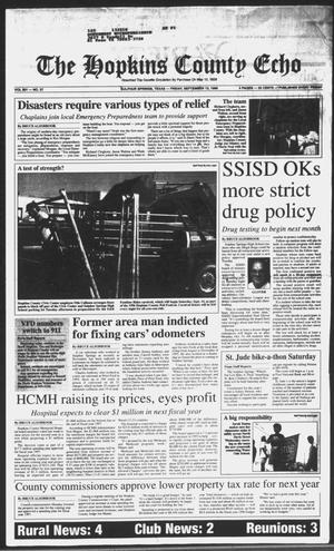 Primary view of object titled 'The Hopkins County Echo (Sulphur Springs, Tex.), Vol. 201, No. 37, Ed. 1 Friday, September 13, 1996'.