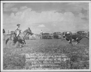 Primary view of object titled '[Photograph of Matlock Rose riding the quarter horse Buster Waggoner in an outdoor arena]'.