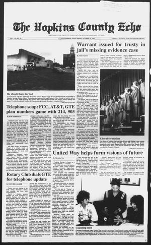 Primary view of object titled 'The Hopkins County Echo (Sulphur Springs, Tex.), Vol. 115, No. 42, Ed. 1 Friday, October 19, 1990'.