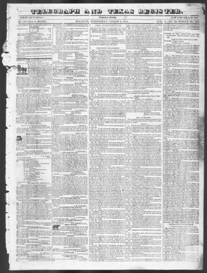 Primary view of Telegraph and Texas Register (Houston, Tex.), Vol. 10, No. 32, Ed. 1, Wednesday, August 6, 1845