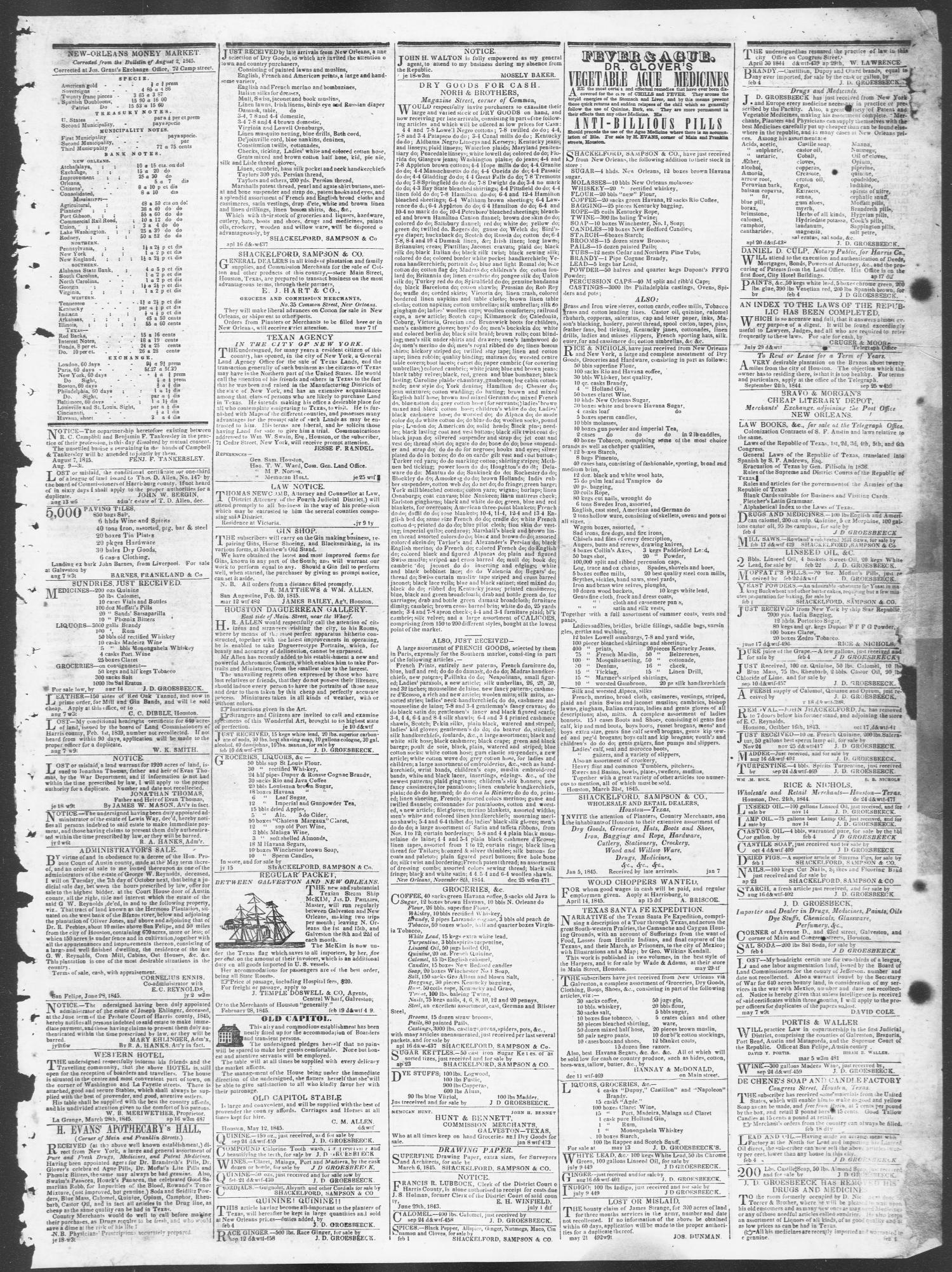 Telegraph and Texas Register (Houston, Tex.), Vol. 10, No. 34, Ed. 1, Wednesday, August 20, 1845                                                                                                      [Sequence #]: 3 of 4