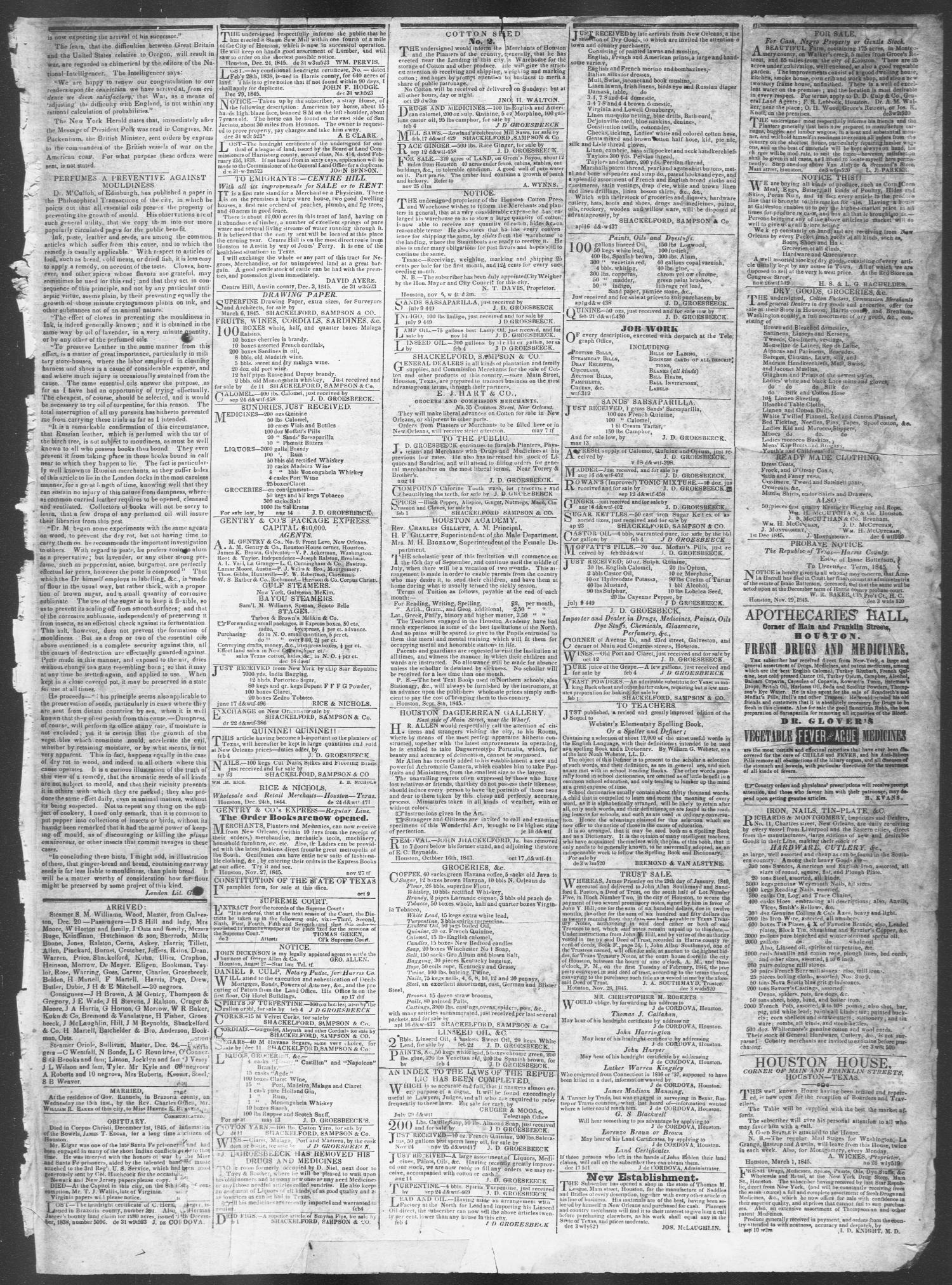 Telegraph and Texas Register (Houston, Tex.), Vol. 10, No. 52, Ed. 1, Wednesday, December 31, 1845                                                                                                      [Sequence #]: 3 of 4