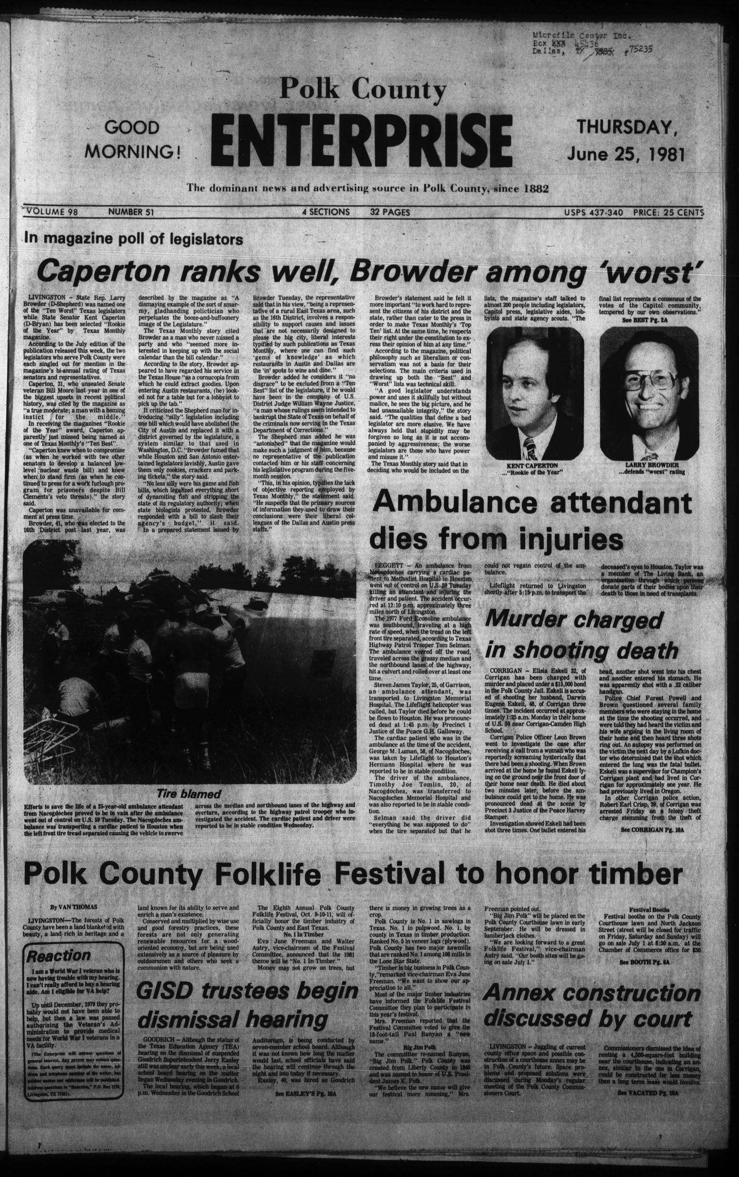 Polk County Enterprise (Livingston, Tex.), Vol. 98, No. 51, Ed. 1 Thursday, June 25, 1981                                                                                                      [Sequence #]: 1 of 32