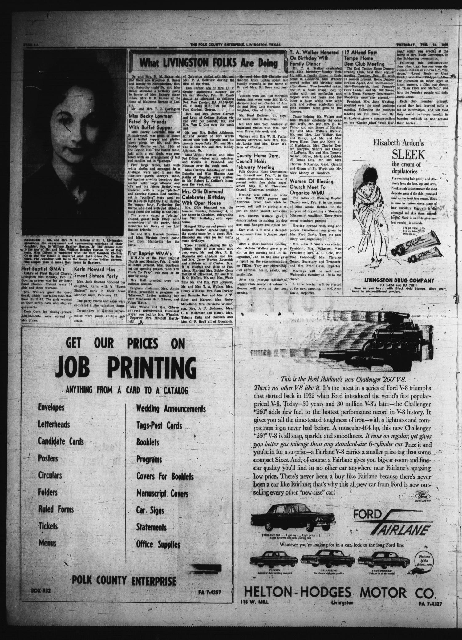 Polk County Enterprise (Livingston, Tex.), Vol. 80, No. 23, Ed. 1 Thursday, February 15, 1962                                                                                                      [Sequence #]: 2 of 12
