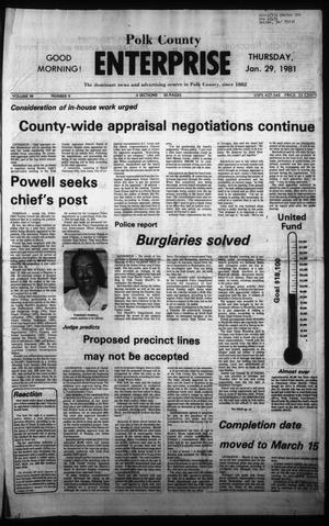 Primary view of object titled 'Polk County Enterprise (Livingston, Tex.), Vol. 99, No. 9, Ed. 1 Thursday, January 29, 1981'.